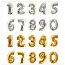 金銀色數字氣球 - 16寸