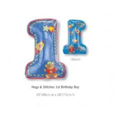 1st Birthday 鋁箔數字氣球 - Hugs & Stitches Boy