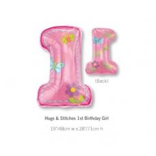 1st Birthday 鋁箔數字氣球 - Hugs & Stitches Girl