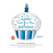 1st Birthday Cupcake Boy 氣球