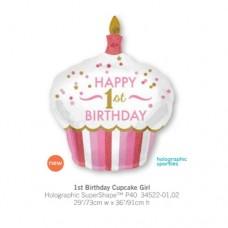 1st Birthday Cupcake Girl 氣球