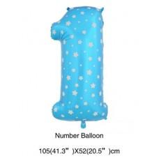 粉藍色1字氣球 - 40寸