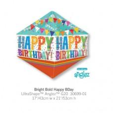 Bright Bold Happy BDay 氣球