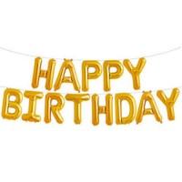 金色Happy Birthday氣球