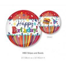 Happy Birthday 紅色間條生日氣球