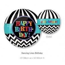 Happy Birthday 黑色間條生日氣球