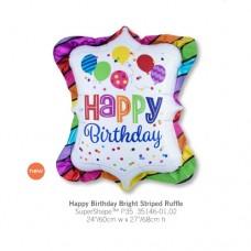 Happy Birthday Bright Striped Ruffle 氣球