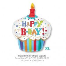 Happy Birthdy Striped Cupcake 氣球