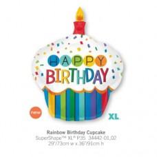 Rainbow Birthday Cupcake 氣球
