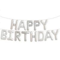 銀色Happy Birthday氣球