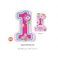 1st Birthday 鋁箔數字氣球 - Sweet Birthday Girl
