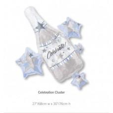 Celebration Cluster 銀色閃閃香檳樽氣球